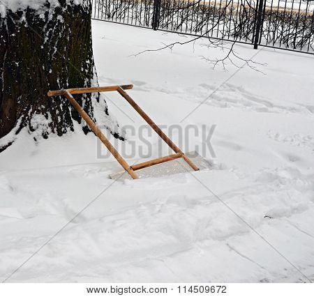 Scraper For Remove Snow In  Snowdrift Near  Cleared-away Path 2