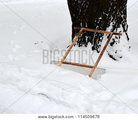 Scraper For Remove Snow In Snowdrift Near Cleared-away Path 1