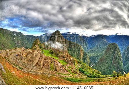 The amazing site of Machu Picchu - the lost city of the Inca near Cusco Peru in HDR through fisheye