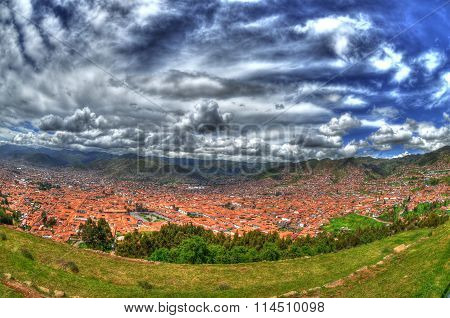 Panoramic view of the beautiful skyline of Cusco in HDR. Cusco Peru