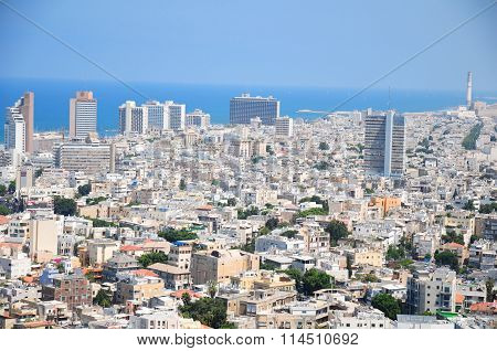 The skyline of Tel Aviv and Tel Aviv beach as seen from Shalom Meir Tower (Kolbo Shalom).