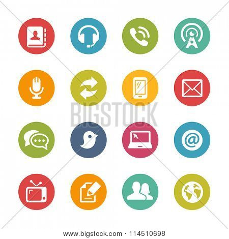 Telecommunications Icons // Fresh Colors Series ++ Icons and buttons in different layers, easy to change colors ++