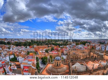 Beautiful panoramic view of the city of Seville (Spain)