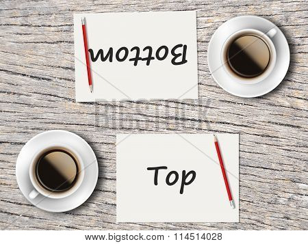 Business Concept : Comparison Between Bottom And Top