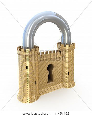 Padlock as fortress isolated on white