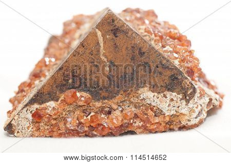 Garnet On Pyrite