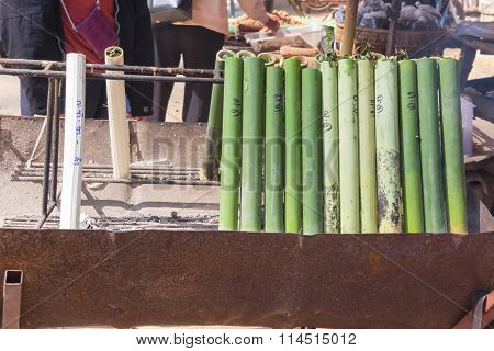 glutinous rice roasted in bamboo joints thailand