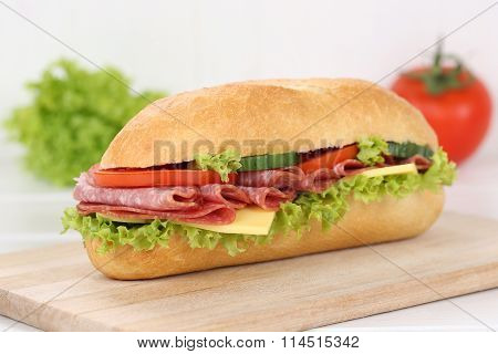Sub Deli Sandwich Baguette With Salami Ham For Breakfast