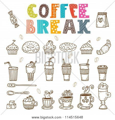 Coffee Break. Vector Doodle Set. Hand Drawn Coffee Elements