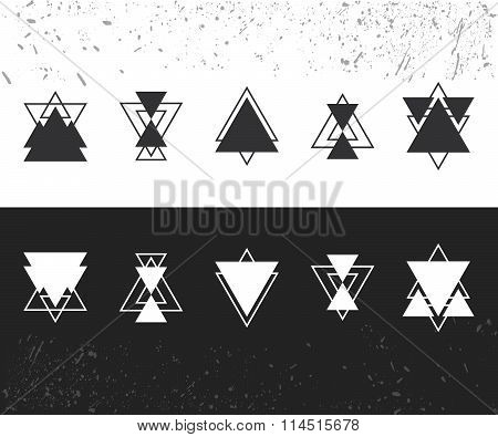 Collection Of Trendy Geometric Shapes. Geometric Icons Set. Trendy Hipster Logotypes