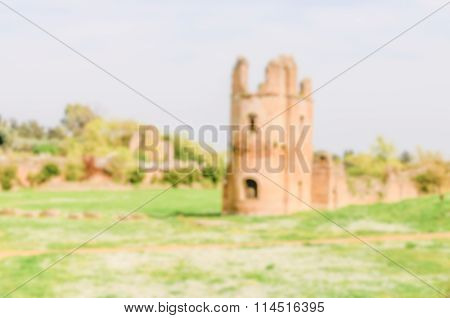 Defocused Background With Ruins Of The Circus Of Maxentius, Rome