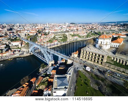 Ribeira District and Dom Luis Bridge View from Vila Nova Gaia, Porto, Portugal