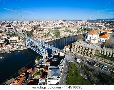 Ribeira District and Dom Luis Bridge View from Vila Nova Gaia, Porto, Portugal