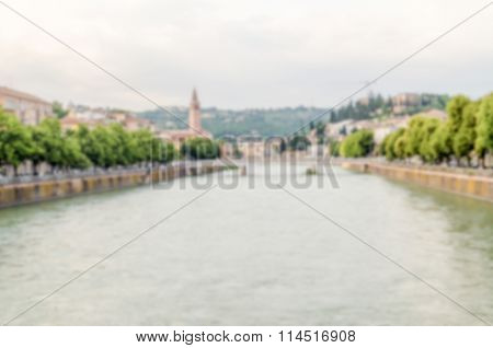 Defocused Background With View Over Adige River In Verona, Italy