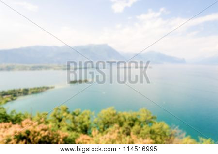 Defocused Background With View From Manerba On Lake Garda, Italy
