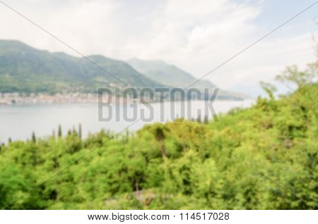 Defocused Background With Panoramic View Over Salo Town, Italy