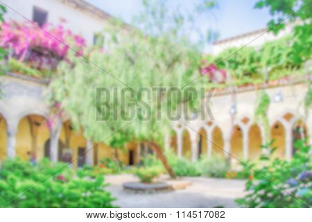 Defocused Background, Cloister Of San Francesco Church In Sorrento, Italy
