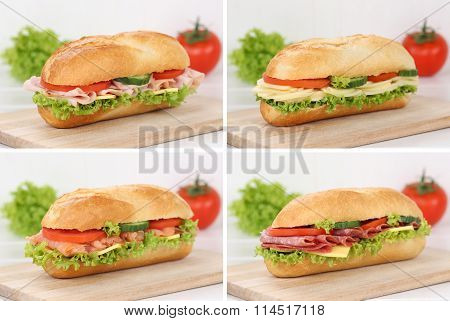 Collection Of Sub Deli Sandwiches Baguettes With Salami Ham Salmon Cheese For Breakfast