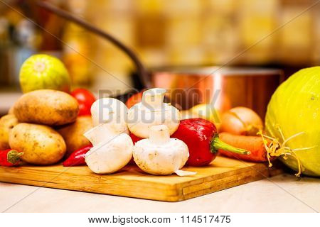 Raw vegetables for stew on the black Board n