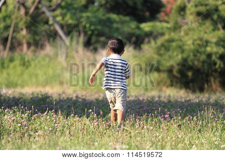 Japanese boy running on the grass (4 years old)