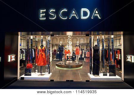 HONG KONG - DECEMBER 25, 2015: shopfront Escada store in Hong Kong. Escada is an international luxury fashion group in women's designer clothing.