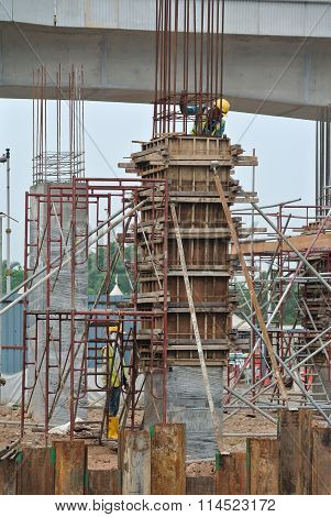 Column formwork at construction site in Malaysia