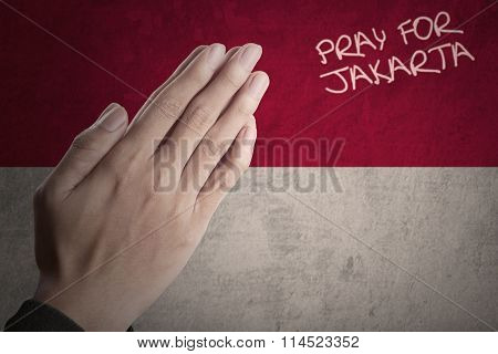 Hands With Indonesian Flag Pray For Jakarta