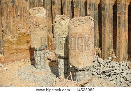 Excavated bore piles at the construction site