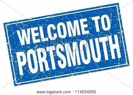 Portsmouth blue square grunge welcome to stamp