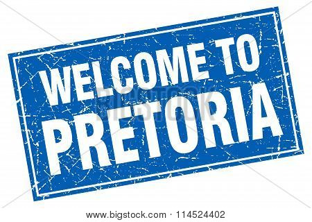 Pretoria blue square grunge welcome to stamp