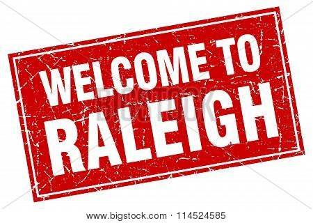 Raleigh red square grunge welcome to stamp