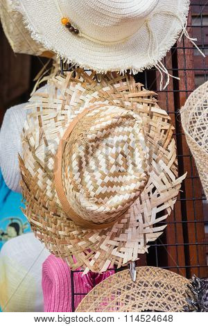 Woven Hat at market in thailand .