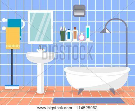 Design Modern Bathroom. Bathroom Interior With In Flat Style.