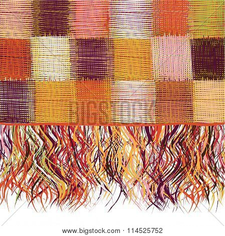 Checkered patchwork colorful weave cloth with fringe