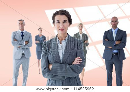 Businesswoman colleagues arm crossed against red vignette
