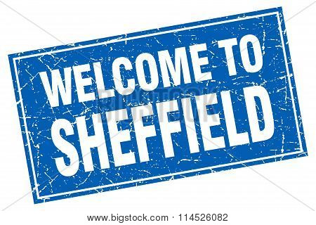 Sheffield blue square grunge welcome to stamp