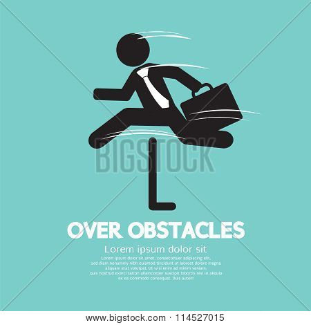 Businessman Jump Over The Obstacles Symbol.