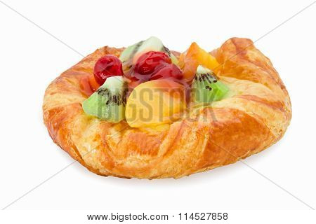 danish pastry with fruits isolated on white background