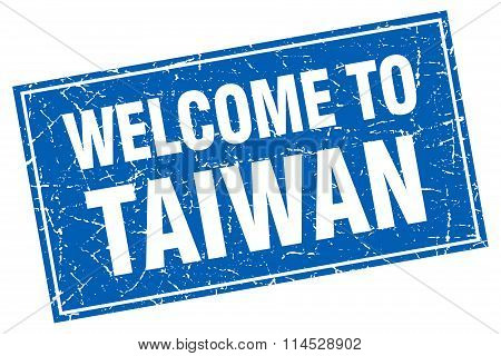 Taiwan blue square grunge welcome to stamp