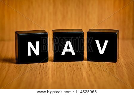 Nav Or Net Asset Value Word On Black Block