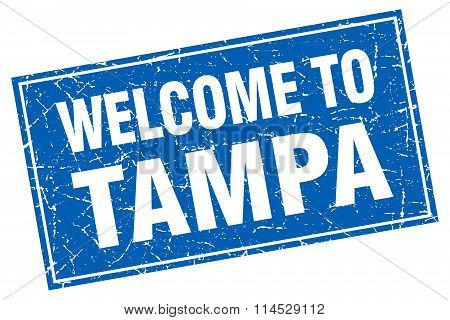 Tampa blue square grunge welcome to stamp