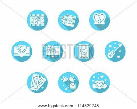 Valentines Day party blue round vector icons