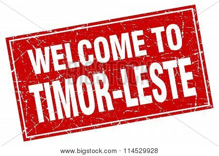 Timor-Leste red square grunge welcome to stamp