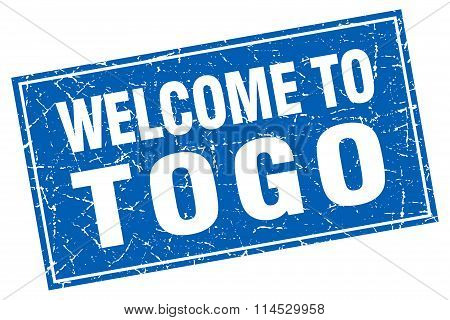 Togo blue square grunge welcome to stamp