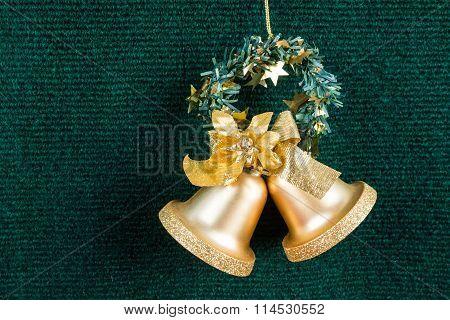 Gold Bells On Green Carpet