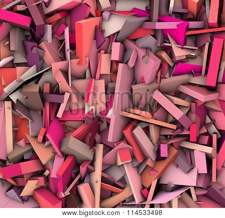 3D Abstract Shape Fragmented Pattern Pink