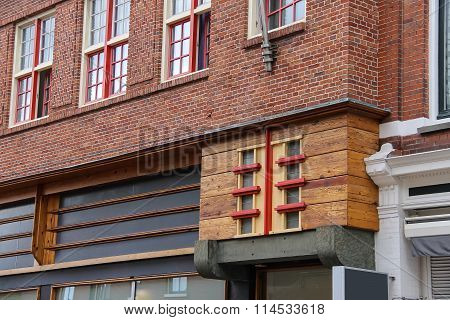 Part Of Old House In The Historic Centre Of Haarlem, The Netherlands