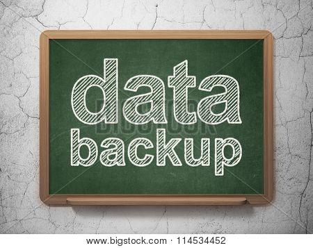 Information concept: Data Backup on chalkboard background