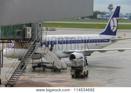 Preflight Service Of The Polish Airlines Plane In Warsaw Chopin Airport, Poland