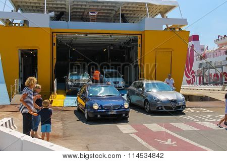 The Cars Leaves The Cargo Part Of The Ferry Ship From The Shipping Company Corsica Ferries